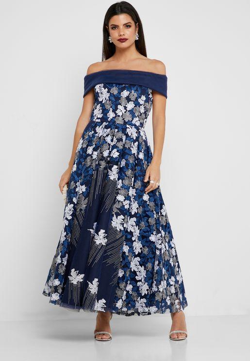 974cab6c0f4 Embroidered Off Shoulder Dress