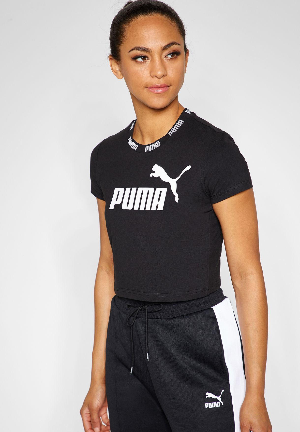 13896fcded3 Shop PUMA black Amplified Cropped T-Shirt 85437701 for Women in UAE ...