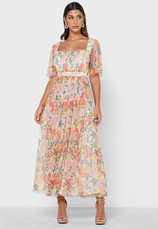 Sweetheart Neck Print Dress