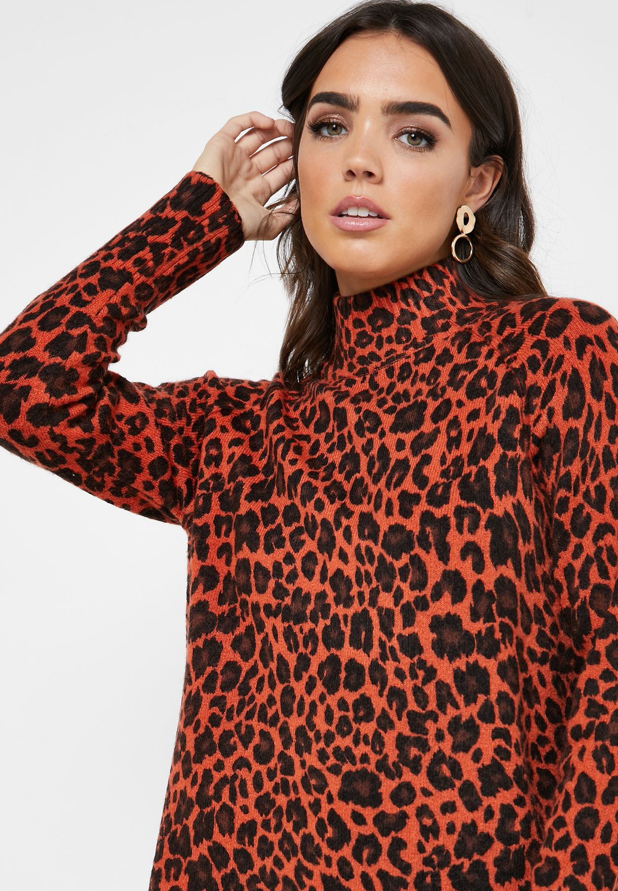 High Neck Animal Print Sweater