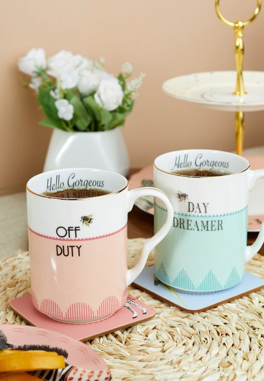 2 Bonjour & Happy Hour Mug Set