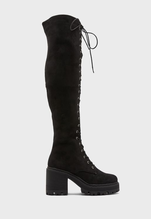 Lace-up Chunky Over The Knee Boot