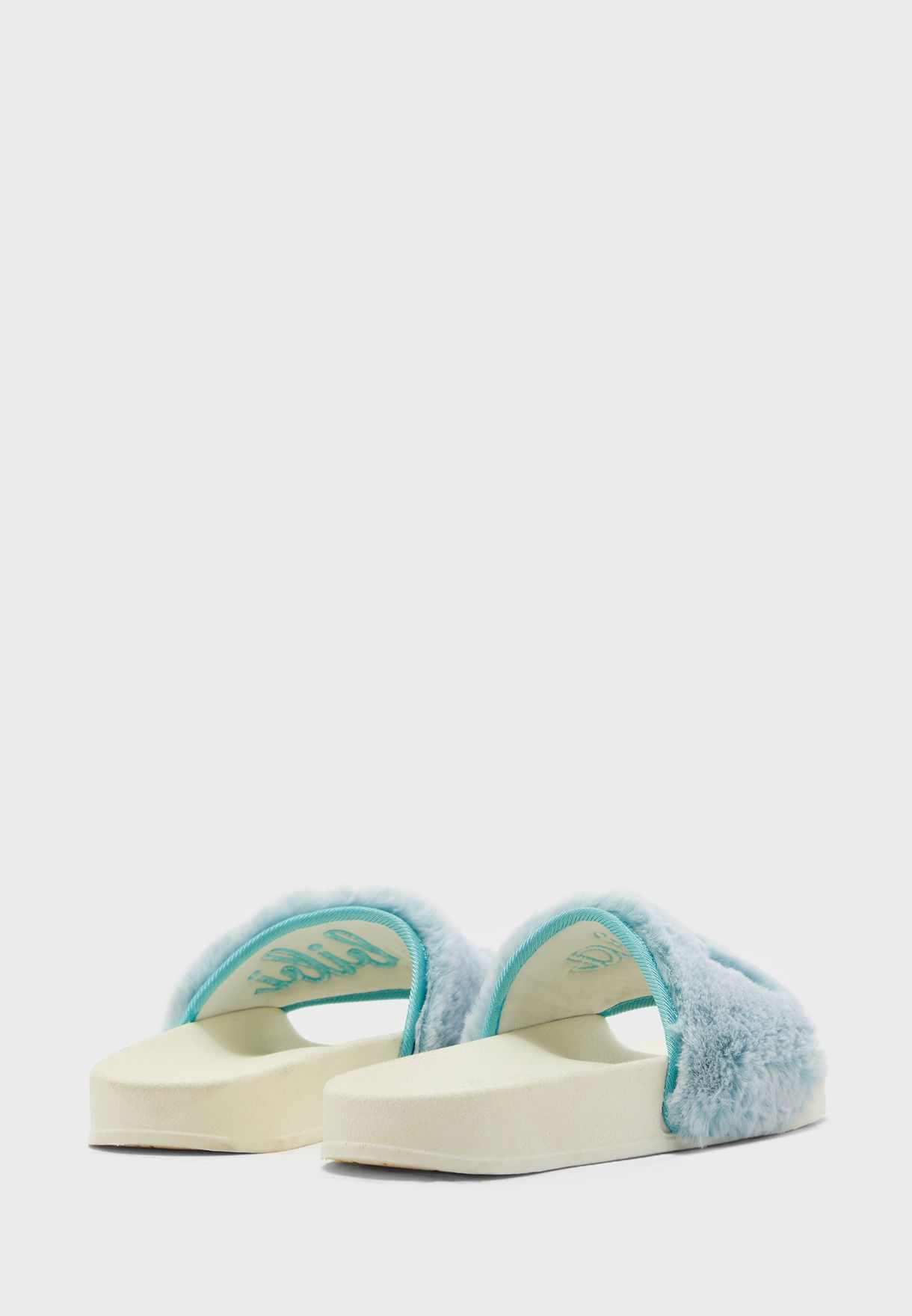 Coco Furry Message Slides - Brand Shoes