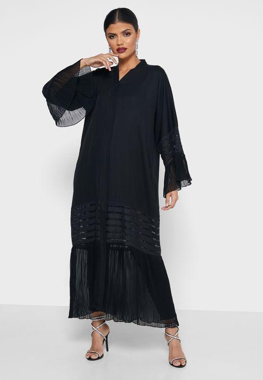 Embellished Pleated Trim Abaya