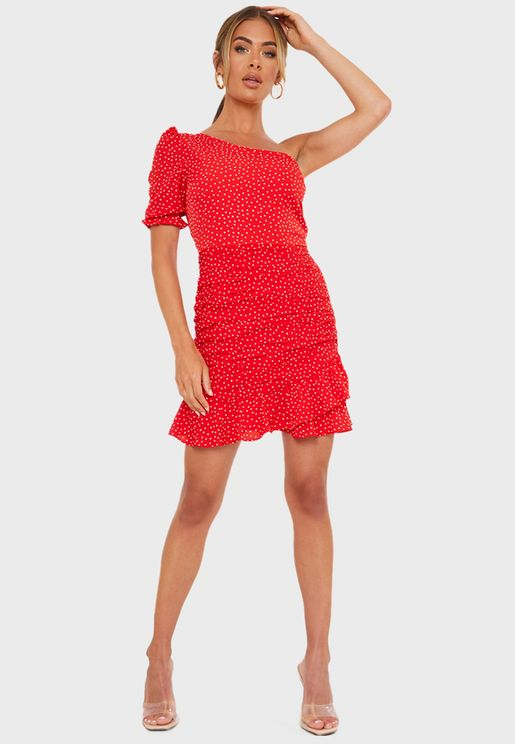 Polka Dot One Shoulder Frill Mini Dress