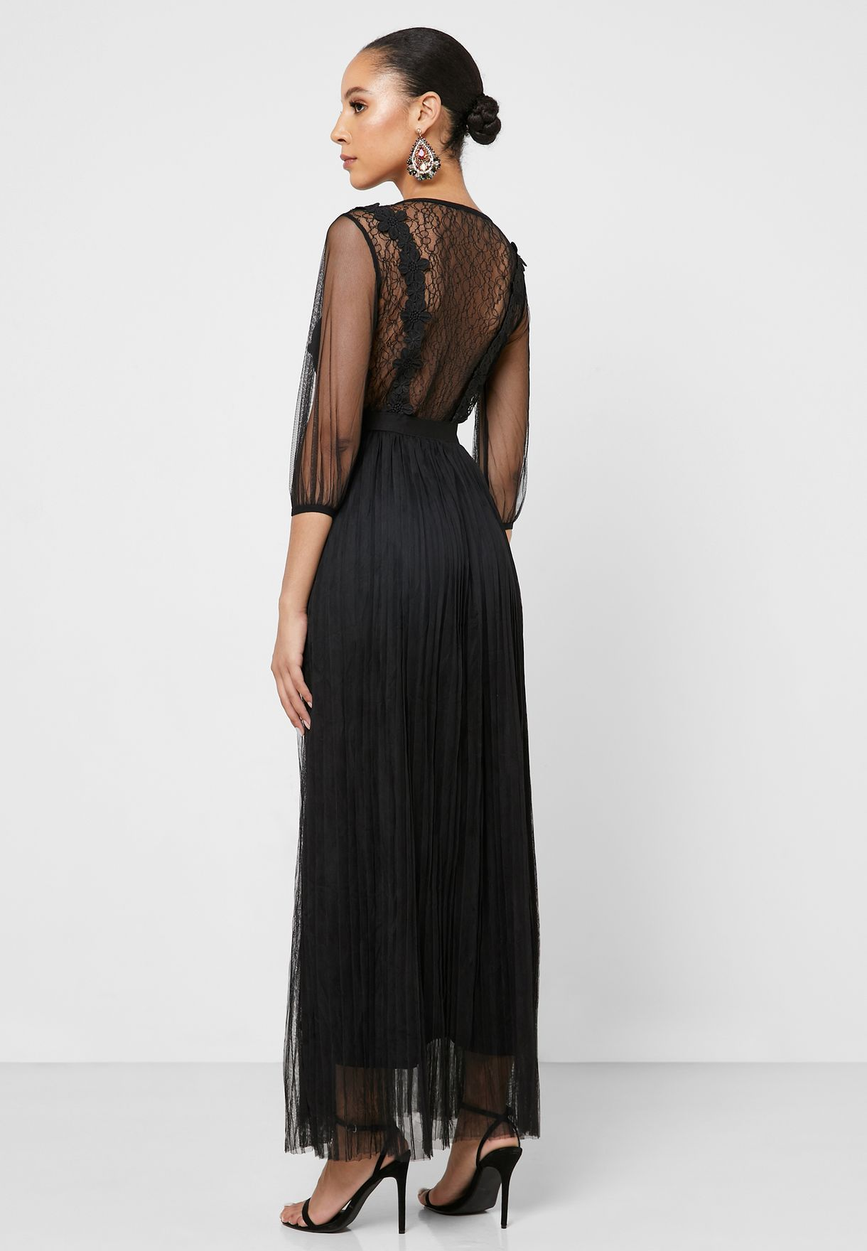 Embroidered Mesh Overlay Maxi Dress