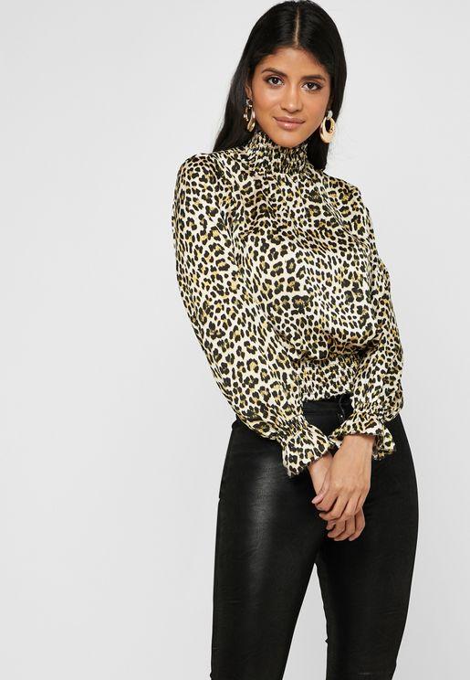 Leopard Print Shirred Trim Top