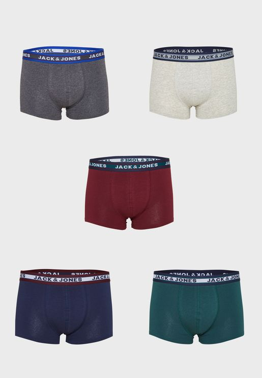 5 Pack Assorted Logo Band Trunks