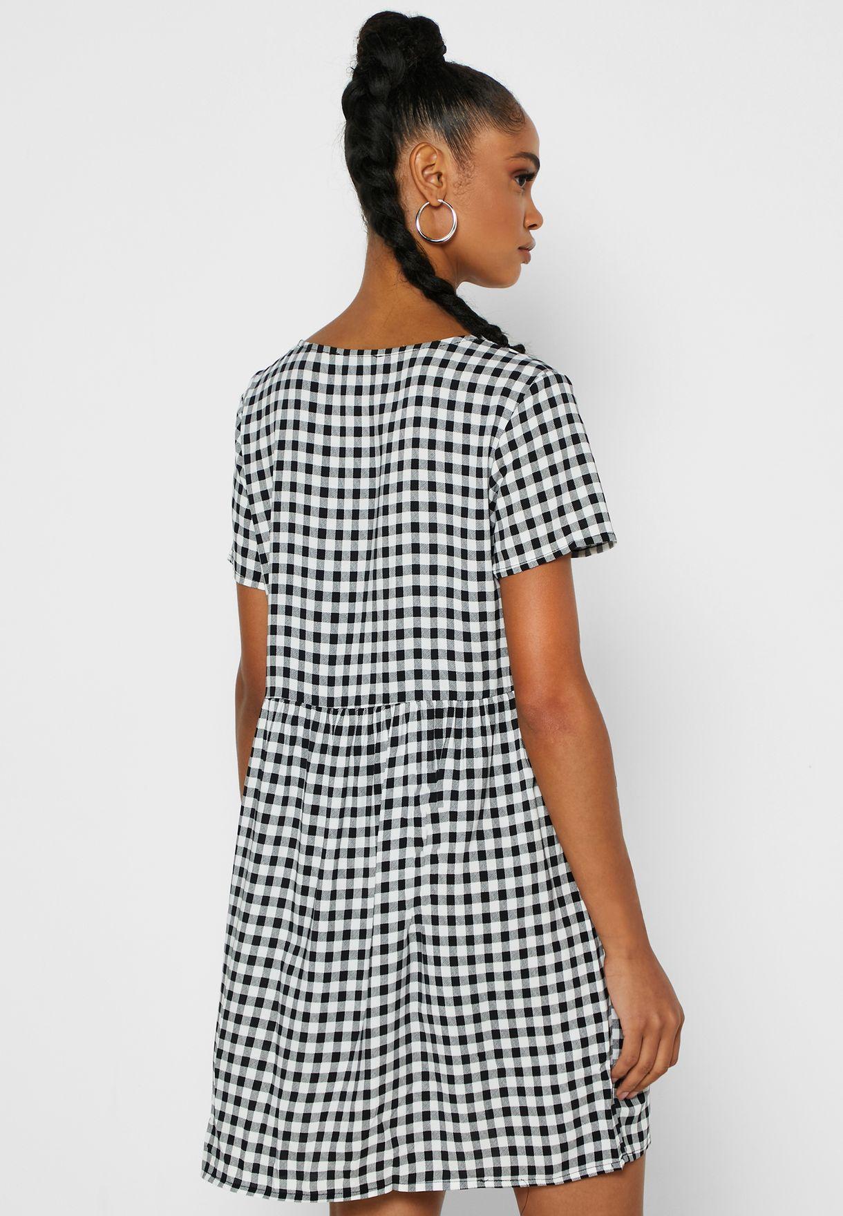 V-Neck Gingham Dress