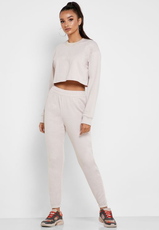 Cropped Sweater And Joggers Set Co Ord