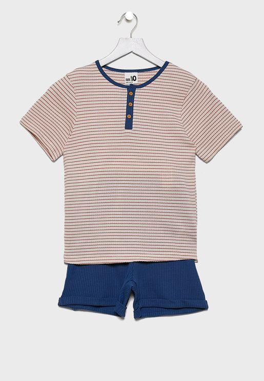 Kids Striped T-Shirt + Shorts Set