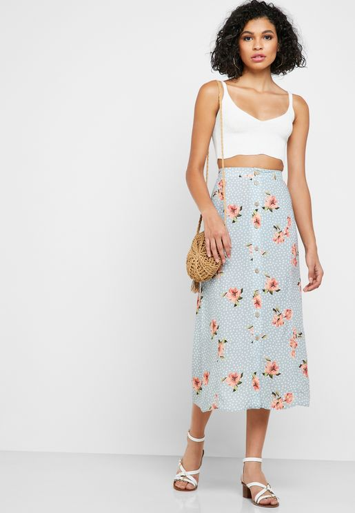 Floral Print Button Through Skirt
