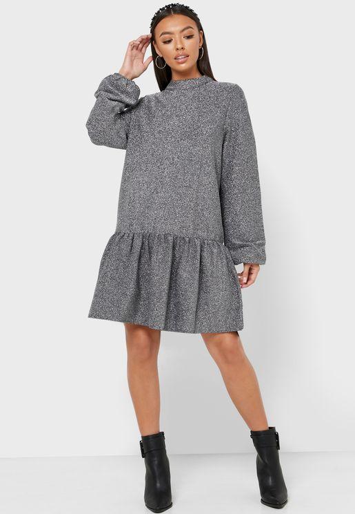 High Neck Puff Sleeve Dress