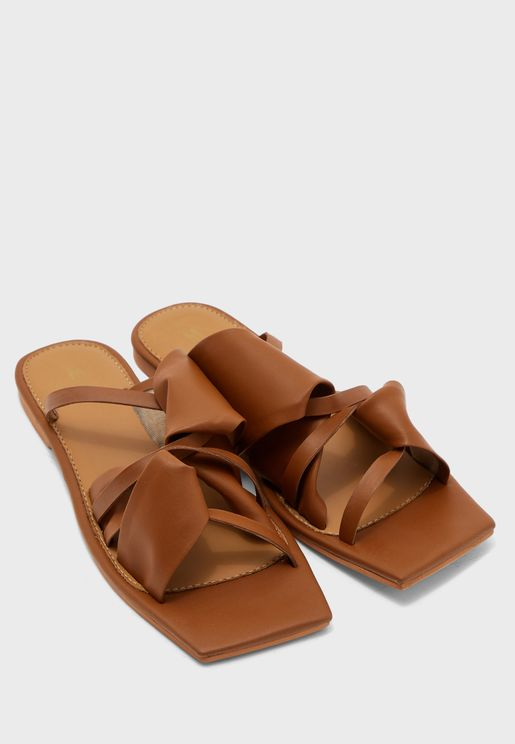 Bunching Square Toe Flat Sandal