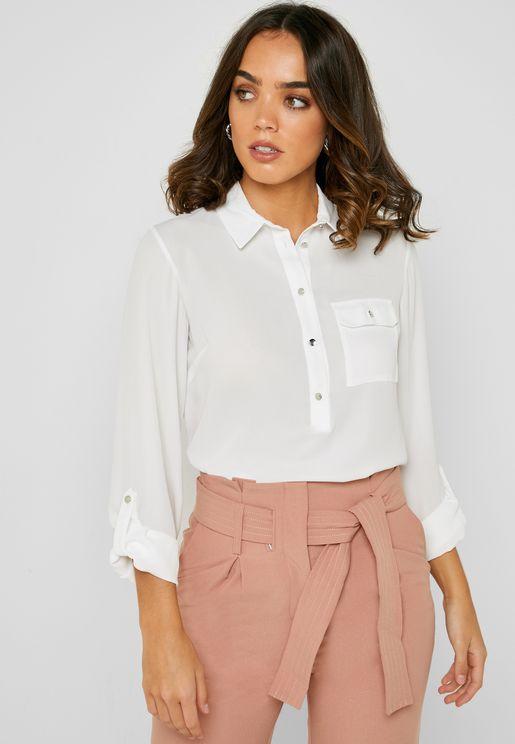 Roll Sleeve Pocket Detail Shirt