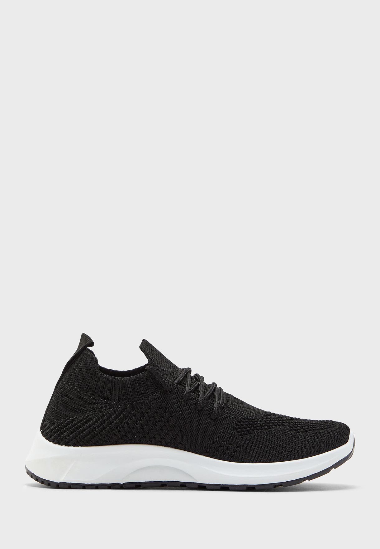 Coloured Sole Lace Up Knit Sneaker