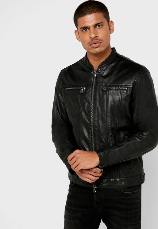 Band Collar Biker Jacket