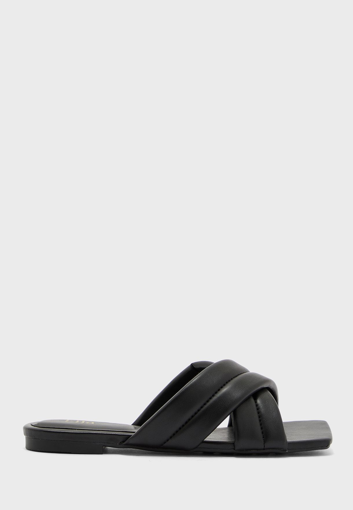 Square Toe Quilted Cross Over Flat Sandal