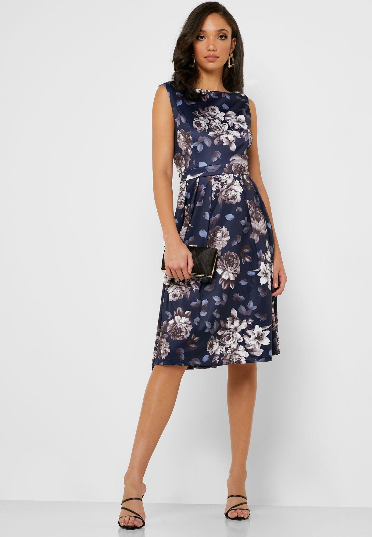 Floral Print Pleated Skater Dress