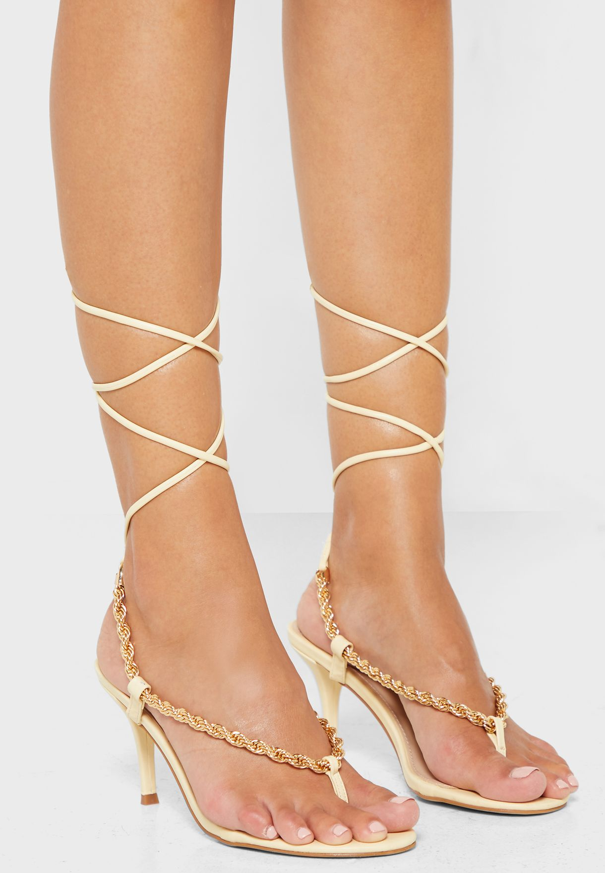 Amarlie Vanilla Pu Chain Toe Thong Lace Up Heel