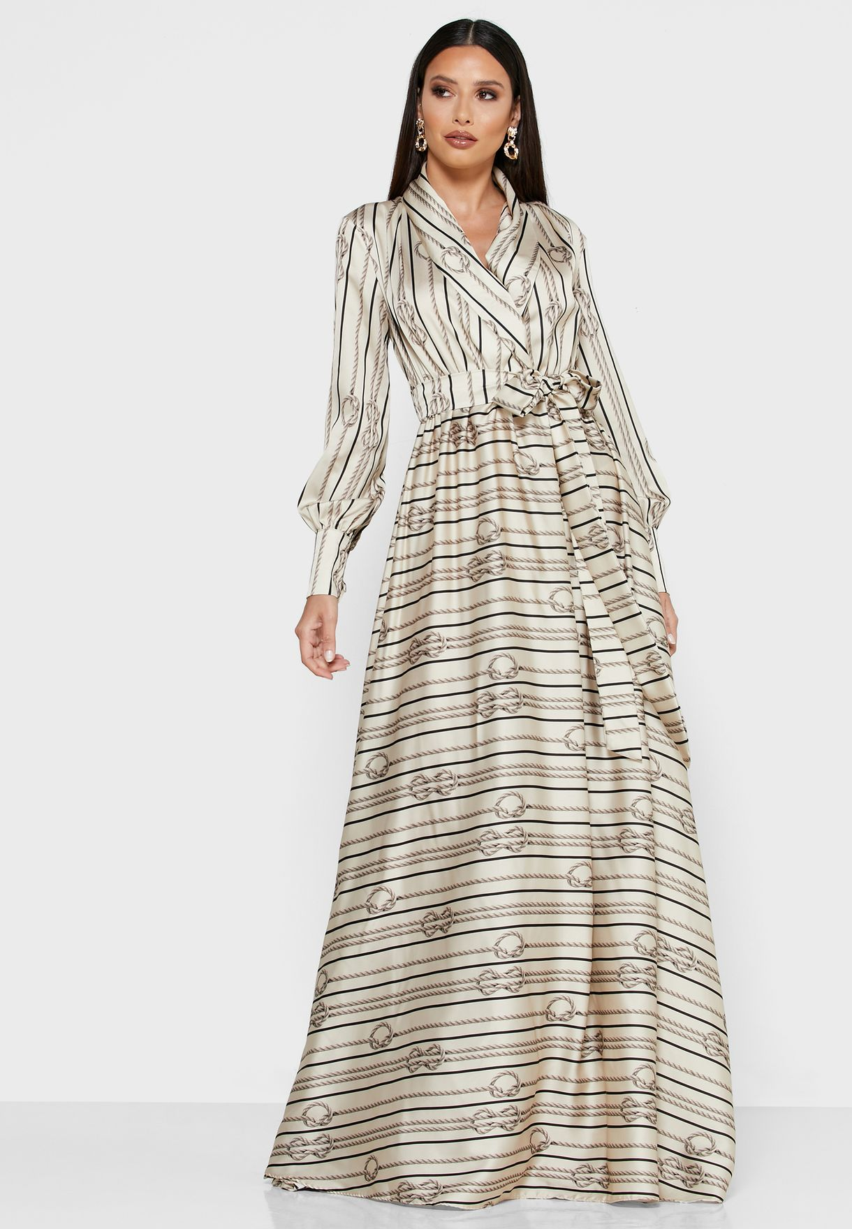 Graphic Print Wrap Front Maxi Dress