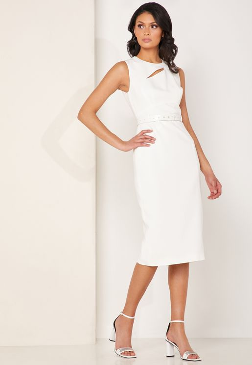 Belted Sleeveless Bodycon Dress