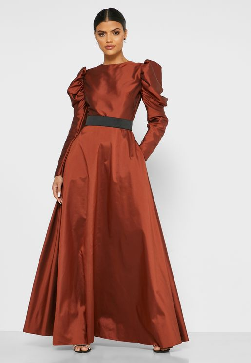 Puff Sleeve Belted Maxi Dress