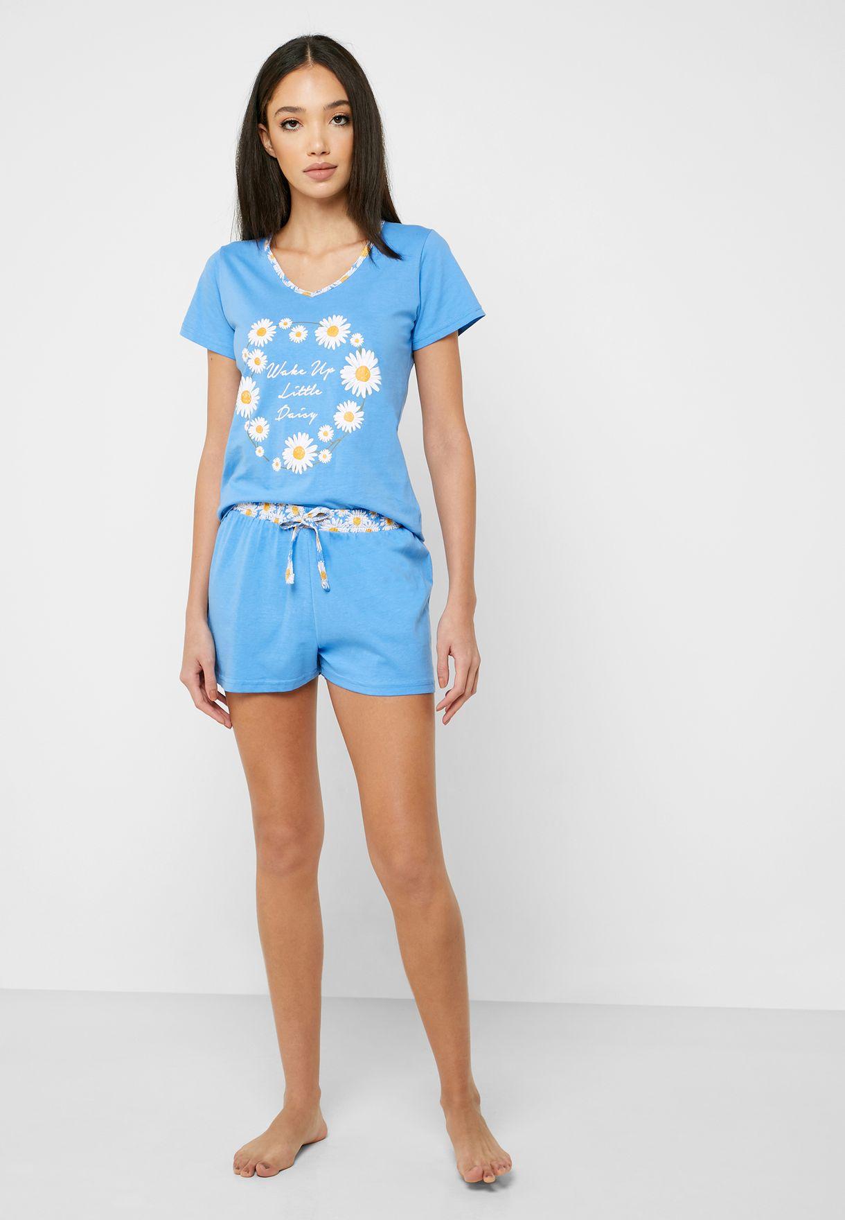 3 In 1 Floral Print Pyjama Shorts Set