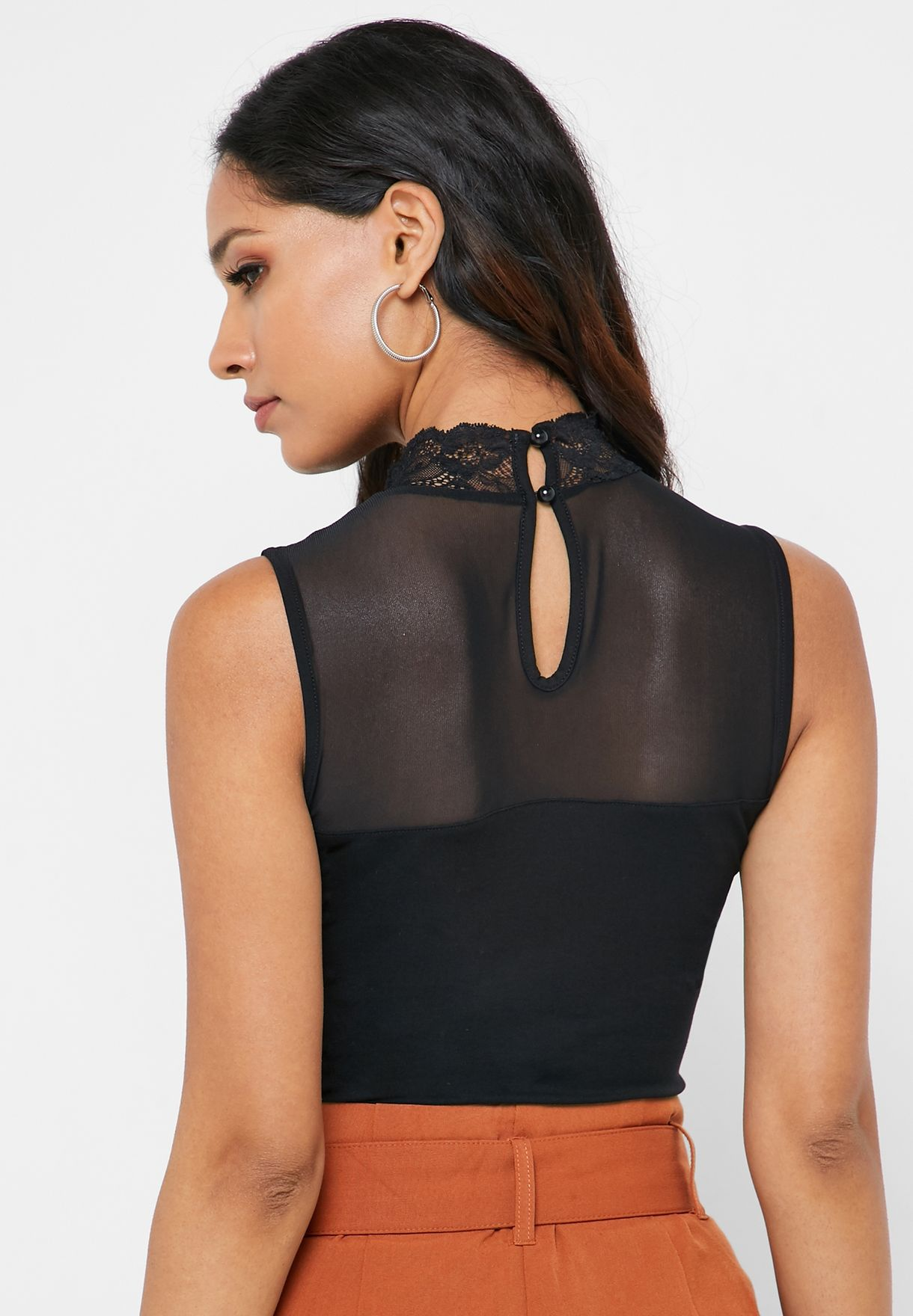 High Neck Lace Detail Body
