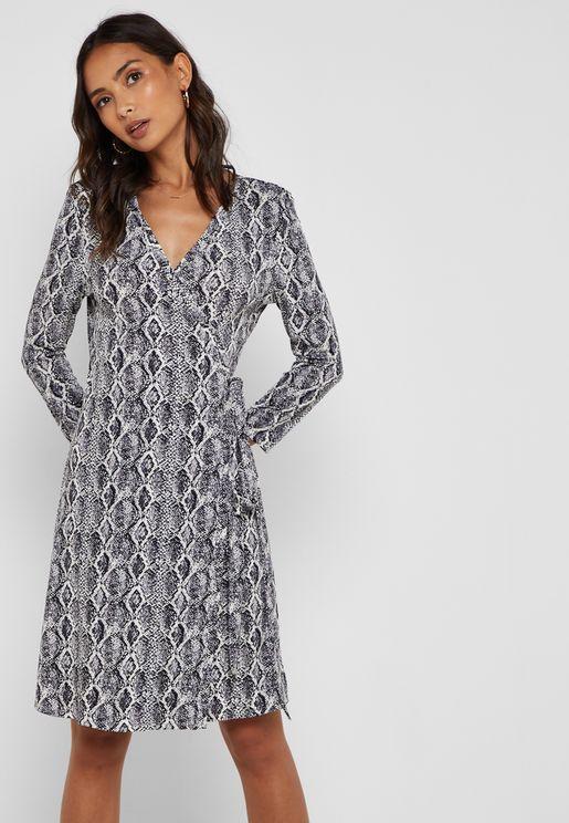 Snake Print Wrap Dress