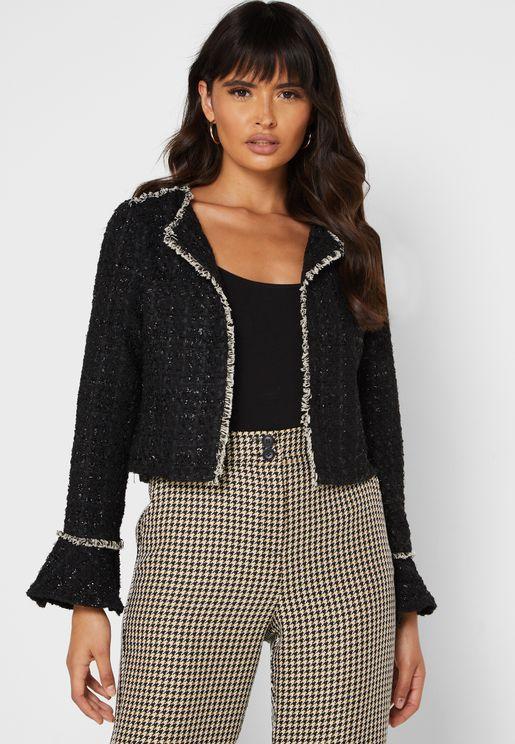 Tweed Ruffle Cuffed Jacket