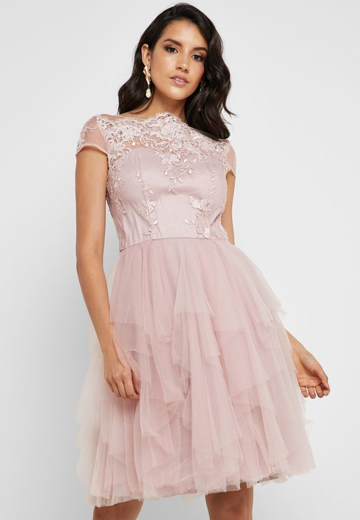81390d5366fb9 Embellished Tulle Dress