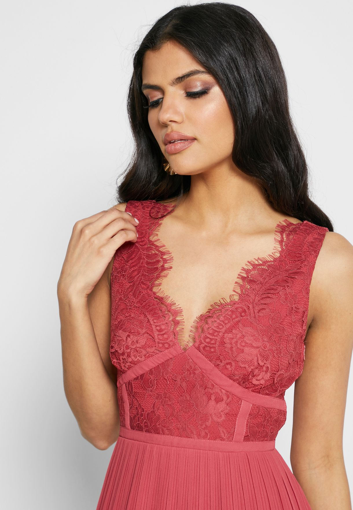 Scallop Detail  Lace Pleated Dress