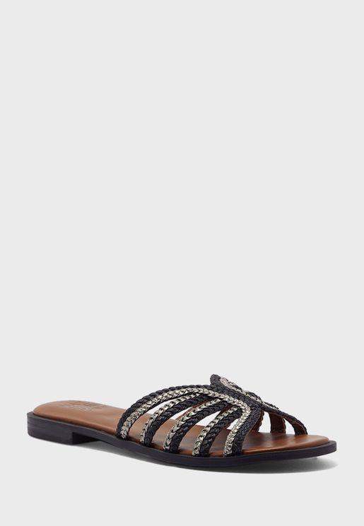 Woven Multi Strap Flat Sandals