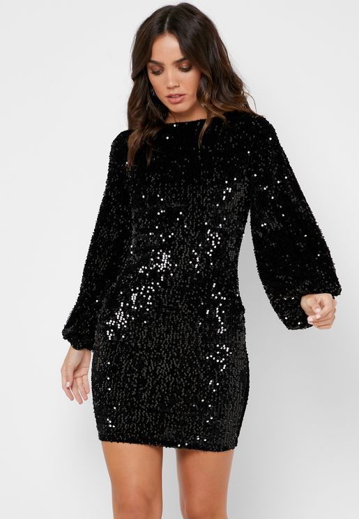 Sequin Puffed Sleeve Mini Dress