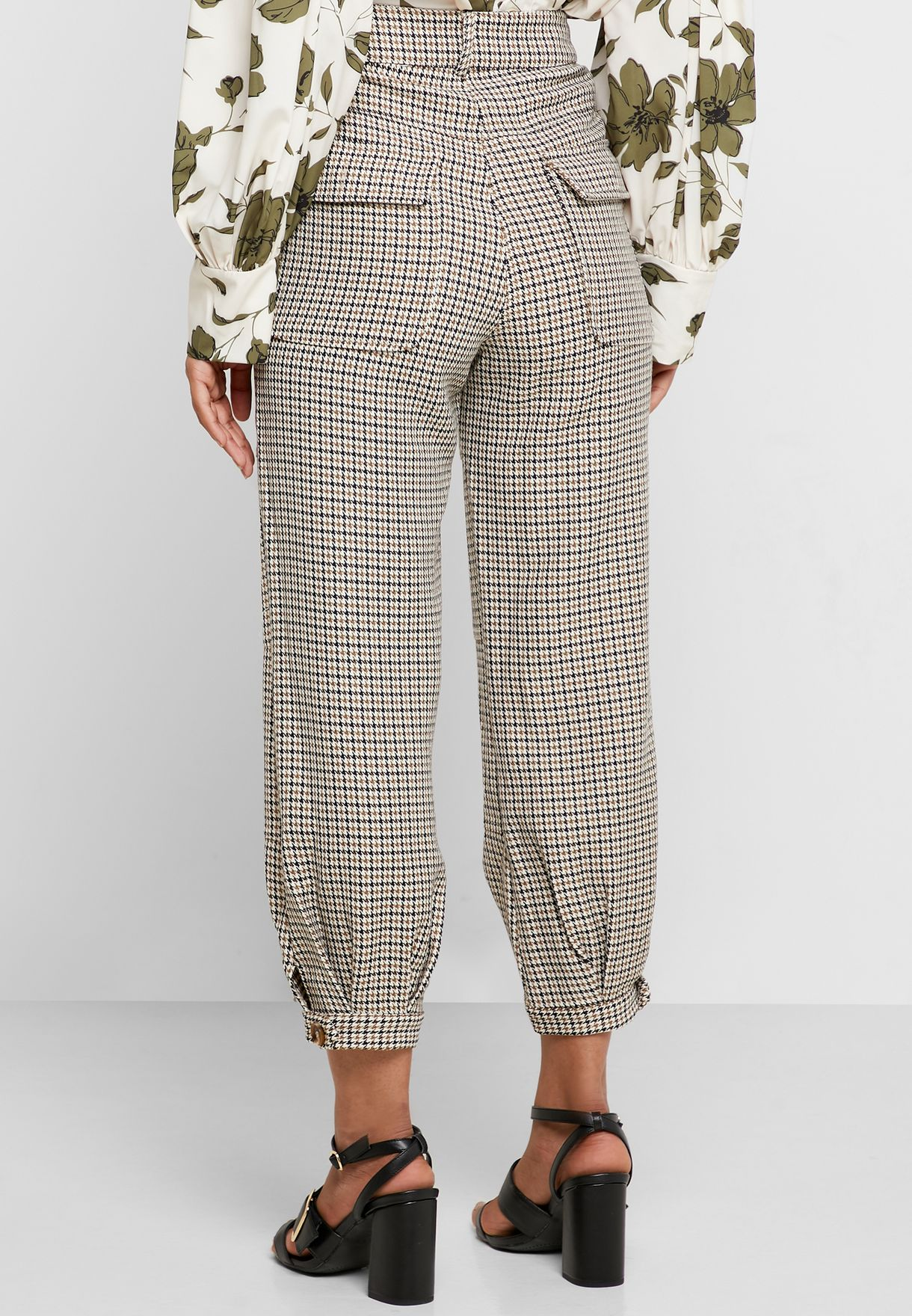 Ankle Grazer Cuffed Printed Pants