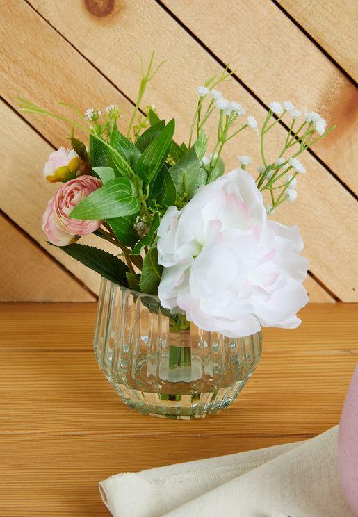Faux Peonies in Glass Vase