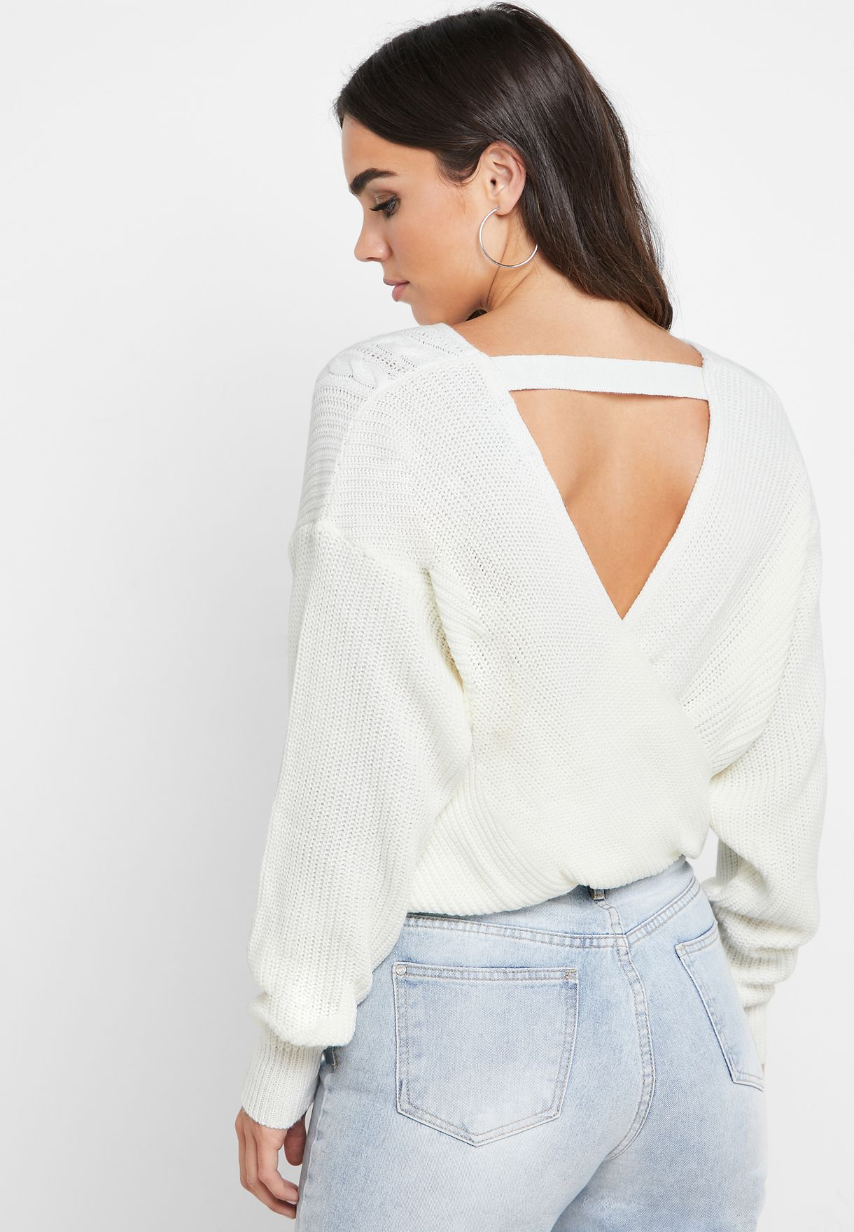 Cable Knit Wrap Back Sweater