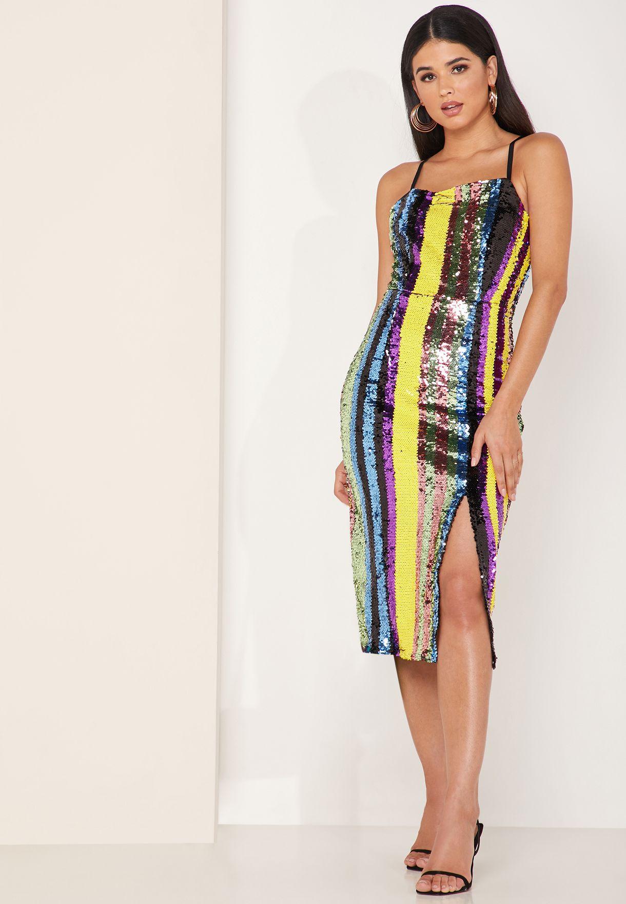Influencer Striped Sequin Dress