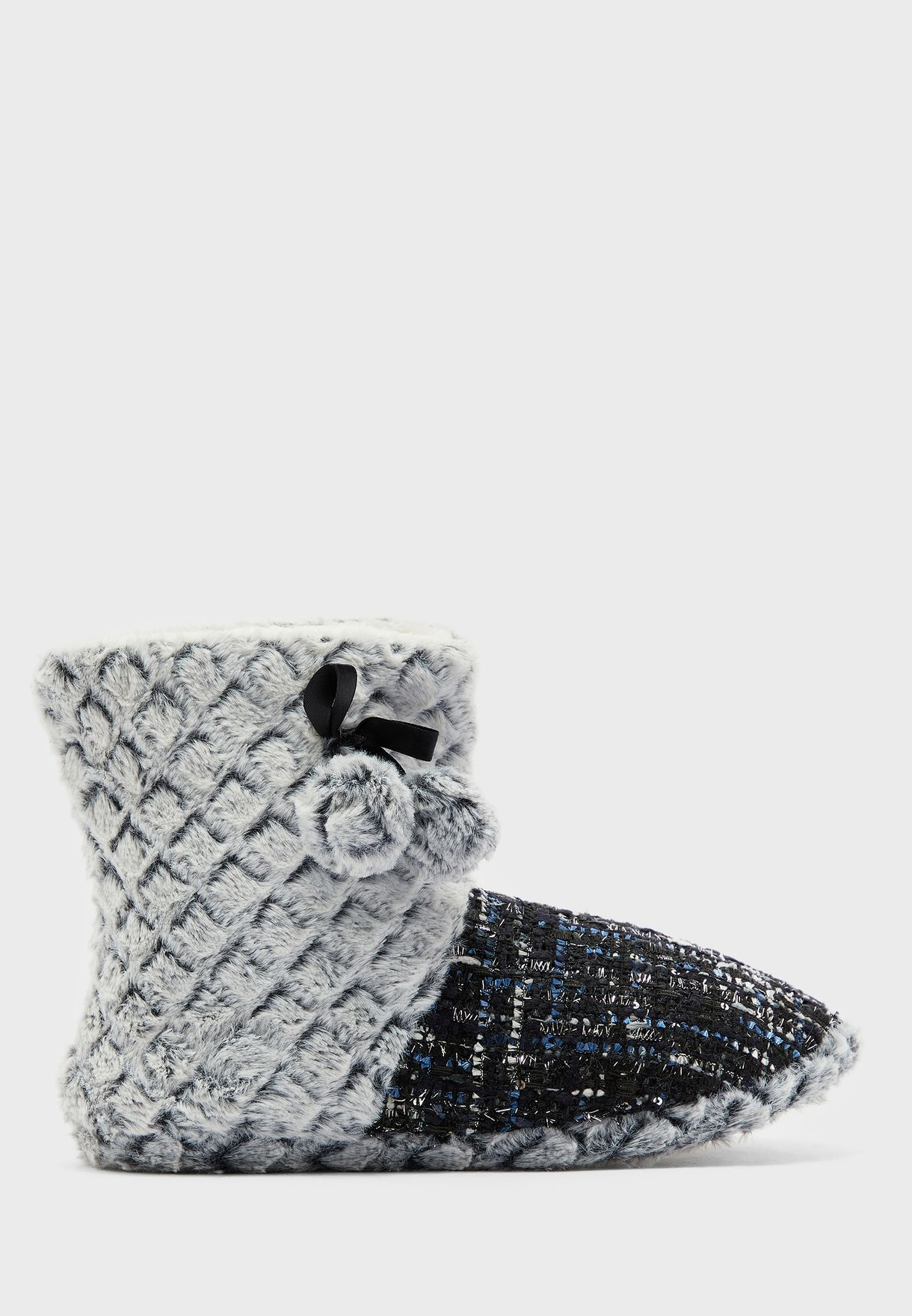 Tweed And Textured Fur Boot With Pom