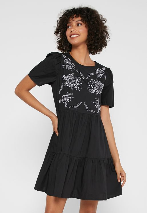 Ruffle Hem Embroidered Dress