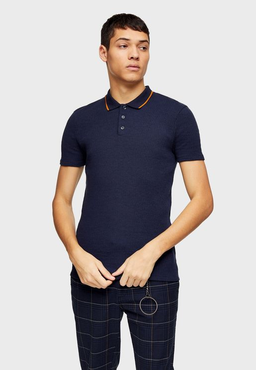Tipped Ribbed Polo