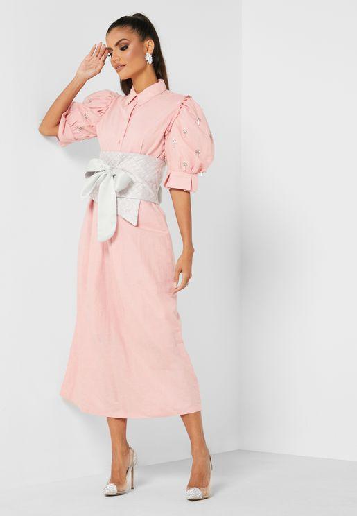 Belted Embellished Sleeves Dress