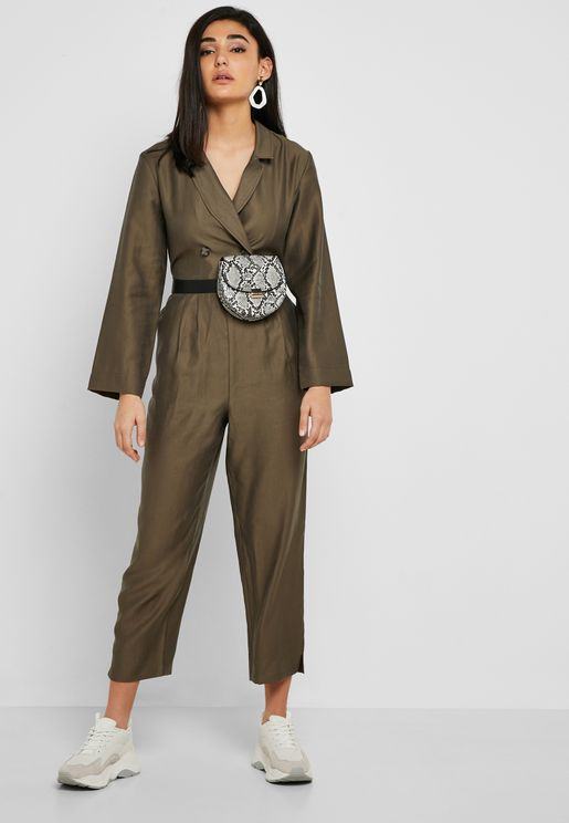 Double Breasted Tie Waist Boilersuit