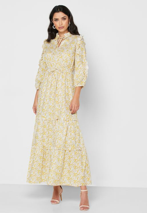 Printed Ruffle Paneled Tiered Maxi Dress