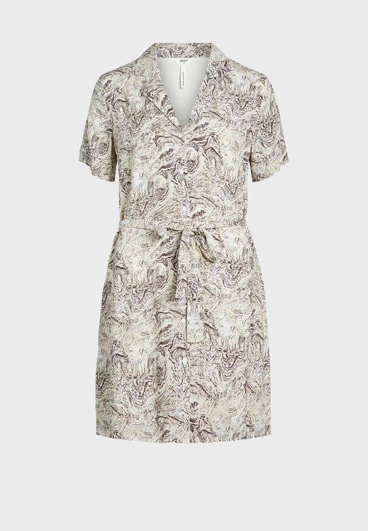 Printed Tie Waist Mini Shirt Dress