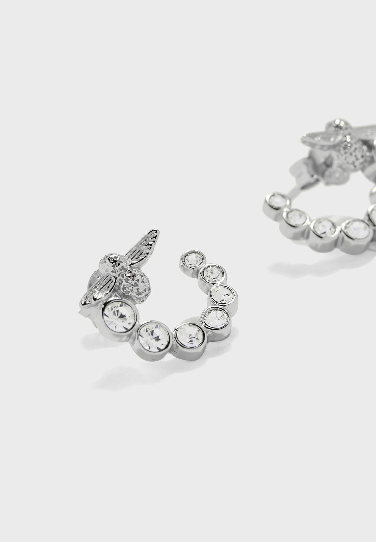 Bejewelled Bee Swirl Hoop Earrings
