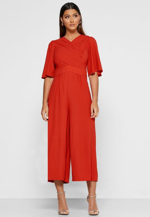 Dr Clemence Cross Over Flute Sleeve Jumpsuit