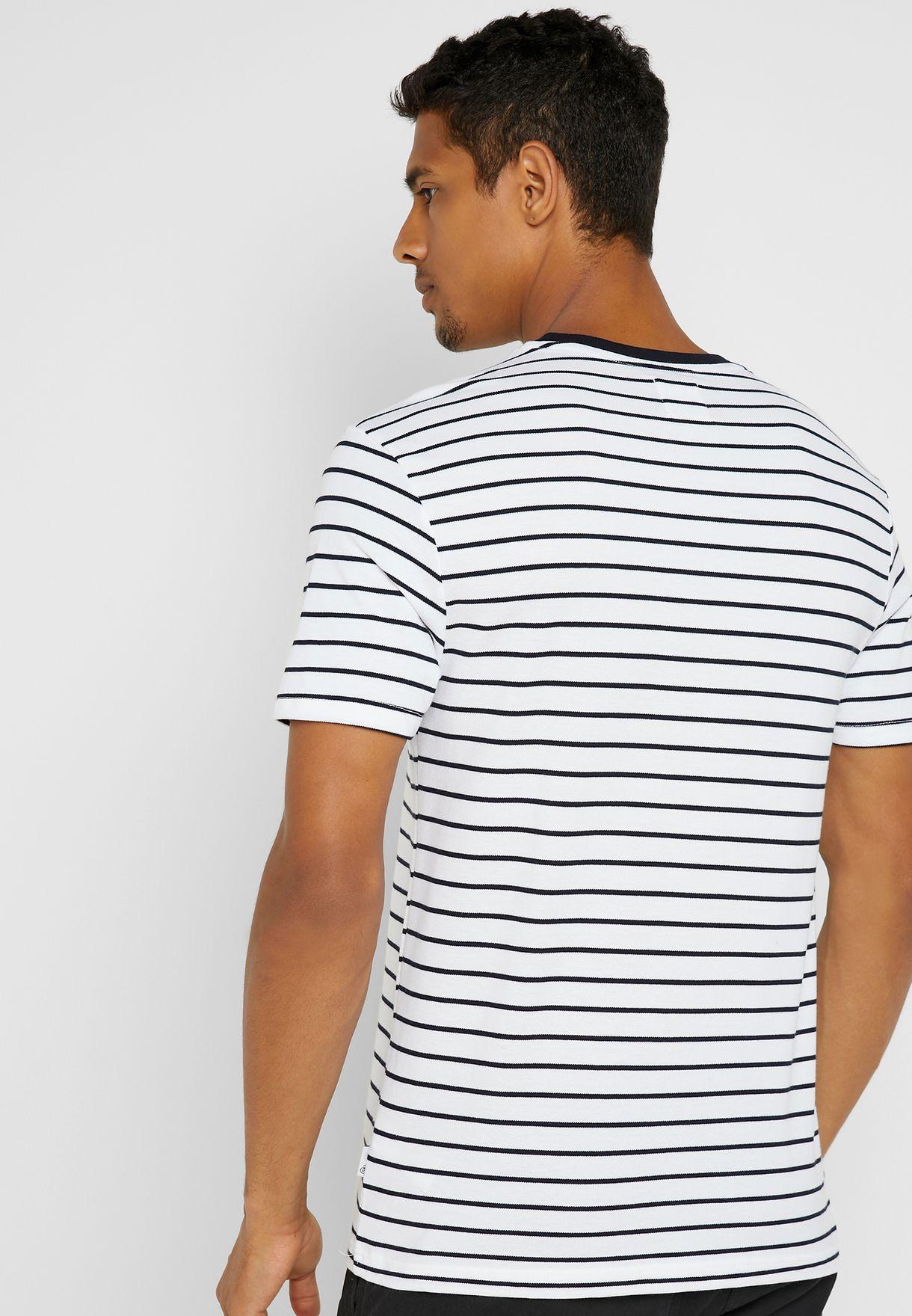 Pique Striped Crew Neck T-Shirt