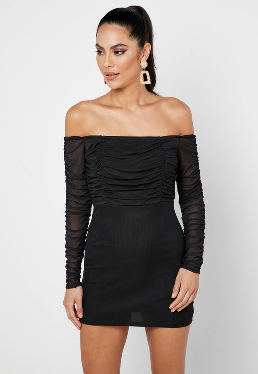 Ruched Detail Bardot Dress